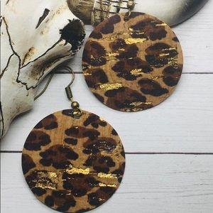 Leopard Metallic Cork earrings